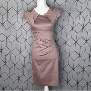 BEBE Taupe Brown Ruched Sheath Dress XS